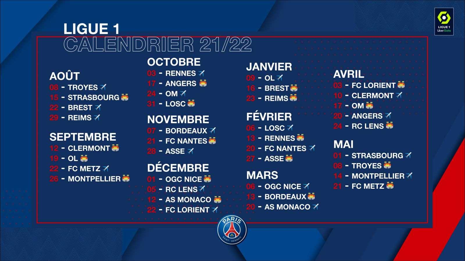 Calendrier Psg 2022 Tout sur le calendrier de la Ligue 1 2021 2022 ! | Paris Saint Germain